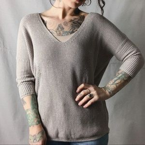 EXPRESS Ribbed Knit V-Neck Sweater Taupe